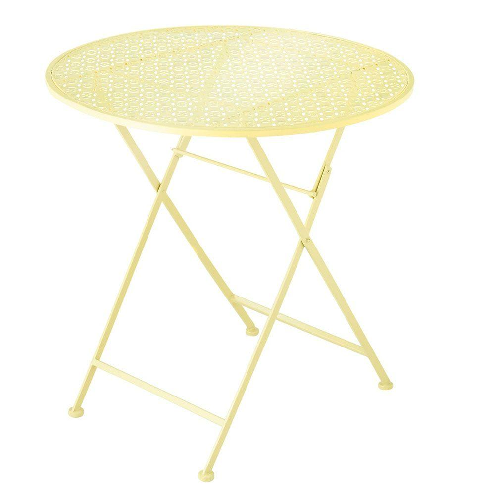 Filament Design Sundry Yellow Punch Pattern Metal Patio Table