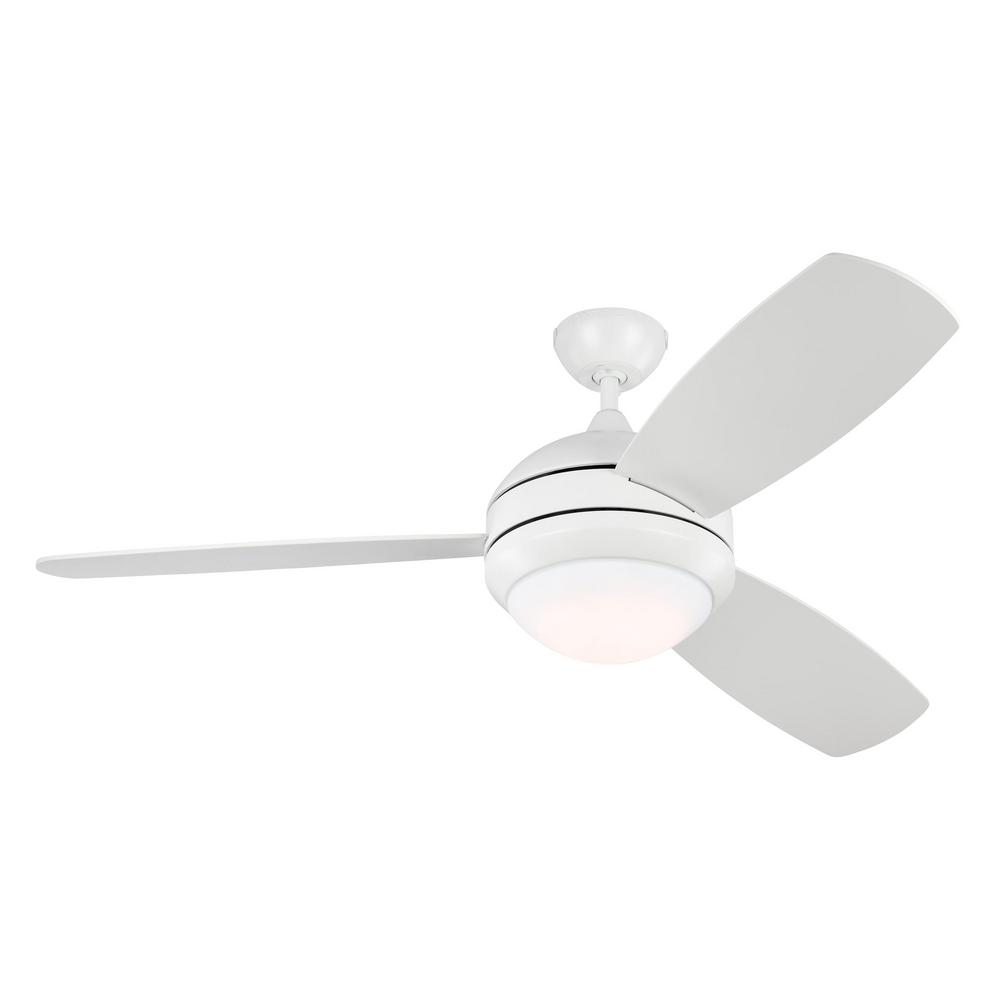 Monte Carlo Discus Trio 52 in. LED Indoor/Outdoor Matte White Ceiling Fan with Light Kit