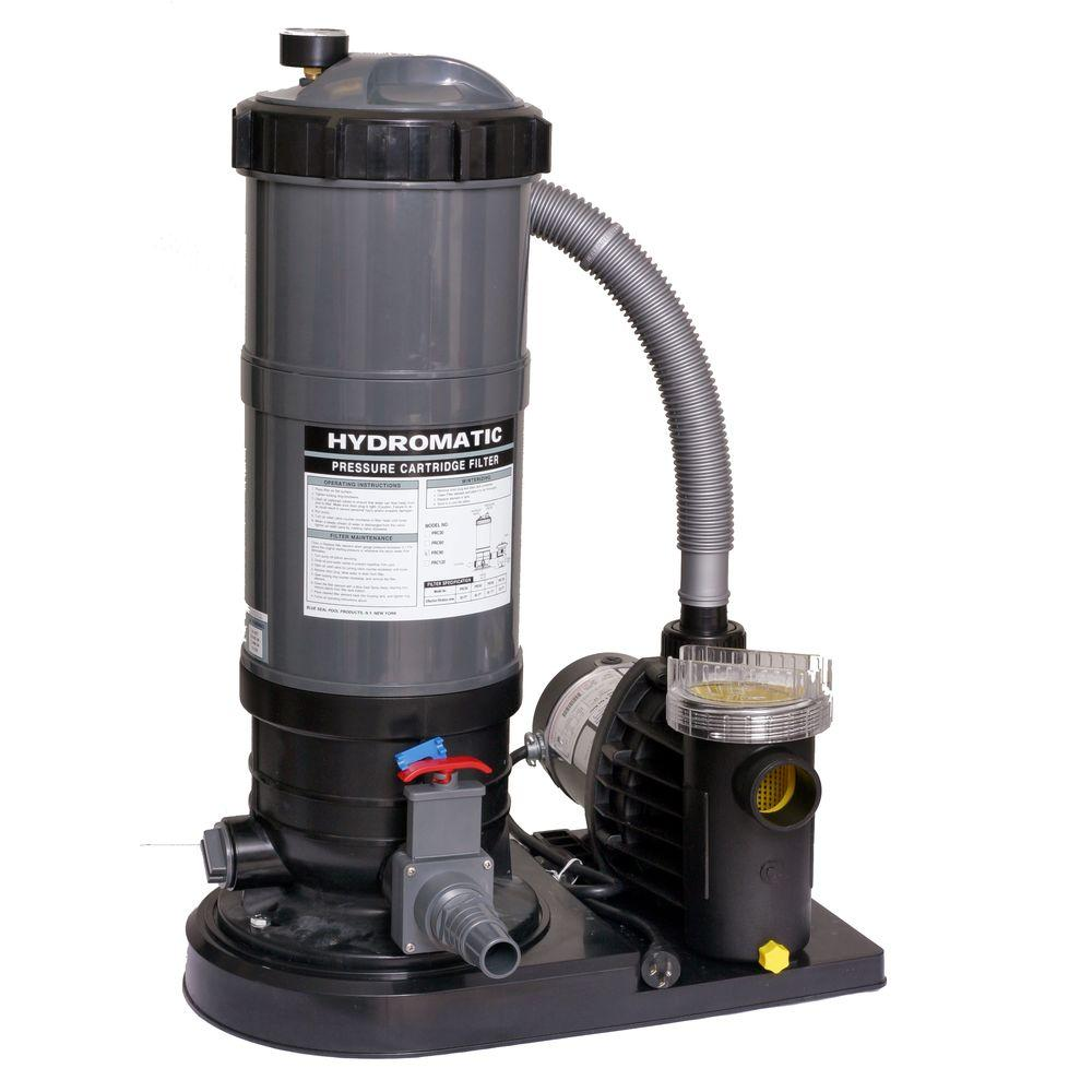 Hydro 90 Sq Ft Cartridge Pool Filter System With 1 HP Pump For Above Ground Pools