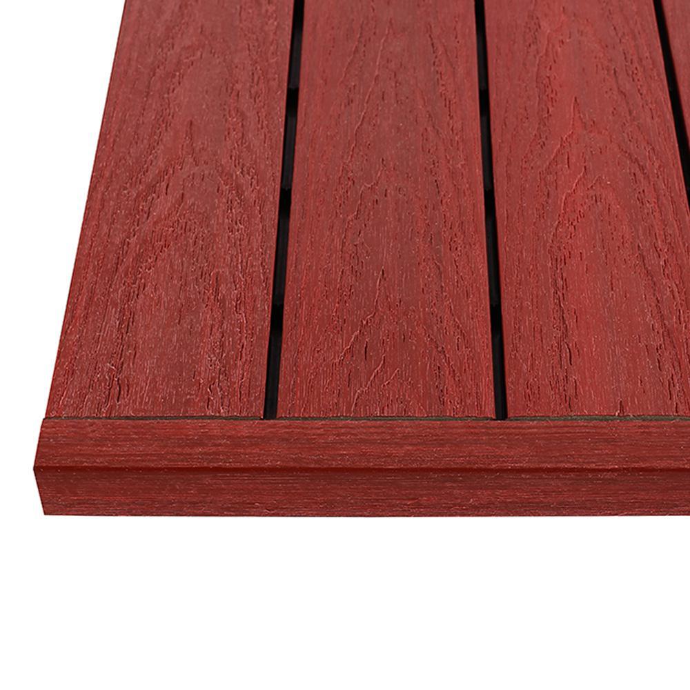 1/6 ft. x 1 ft. Swedish Red Quick Deck Composite Deck Tile Straight End Fascia (4-Piece/Box)