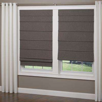 Frost Gray Cordless Room Darkening Fabric Roman Shade, 64 in. Length (Price Varies by Size)