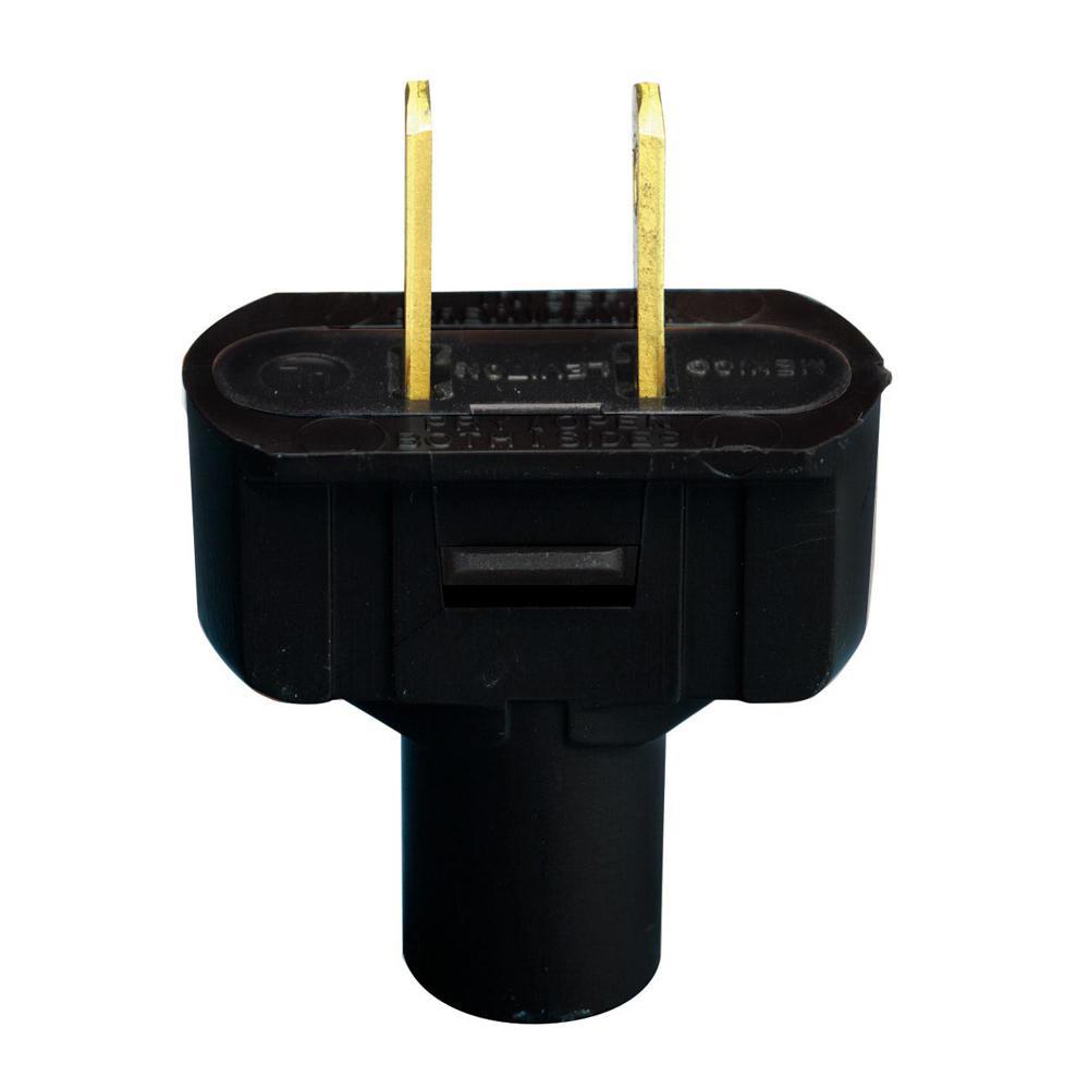 15 Amp 125-Volt Flat Plug, Black