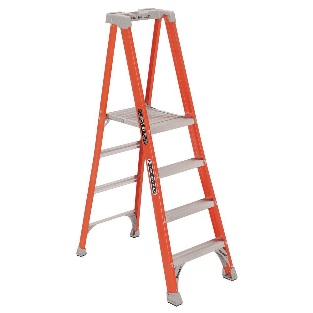 4 ft. Fiberglass Pinnacle Platform Ladder, (10.4 ft. Reach) 300 lbs. Load Capacity Type IA Duty Rating