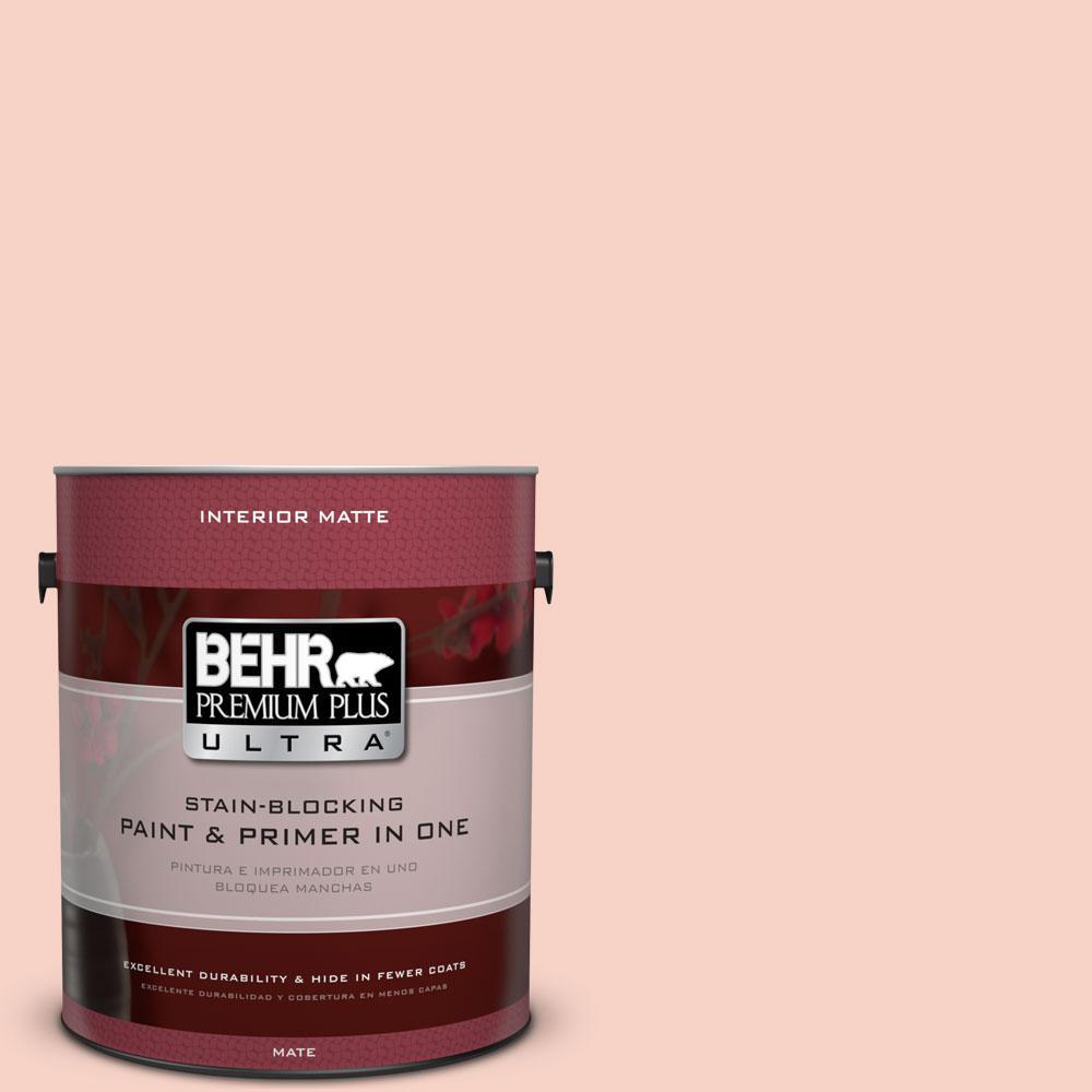 BEHR Premium Plus Ultra 1 gal. #210C-2 Demure Pink Flat/Matte Interior Paint