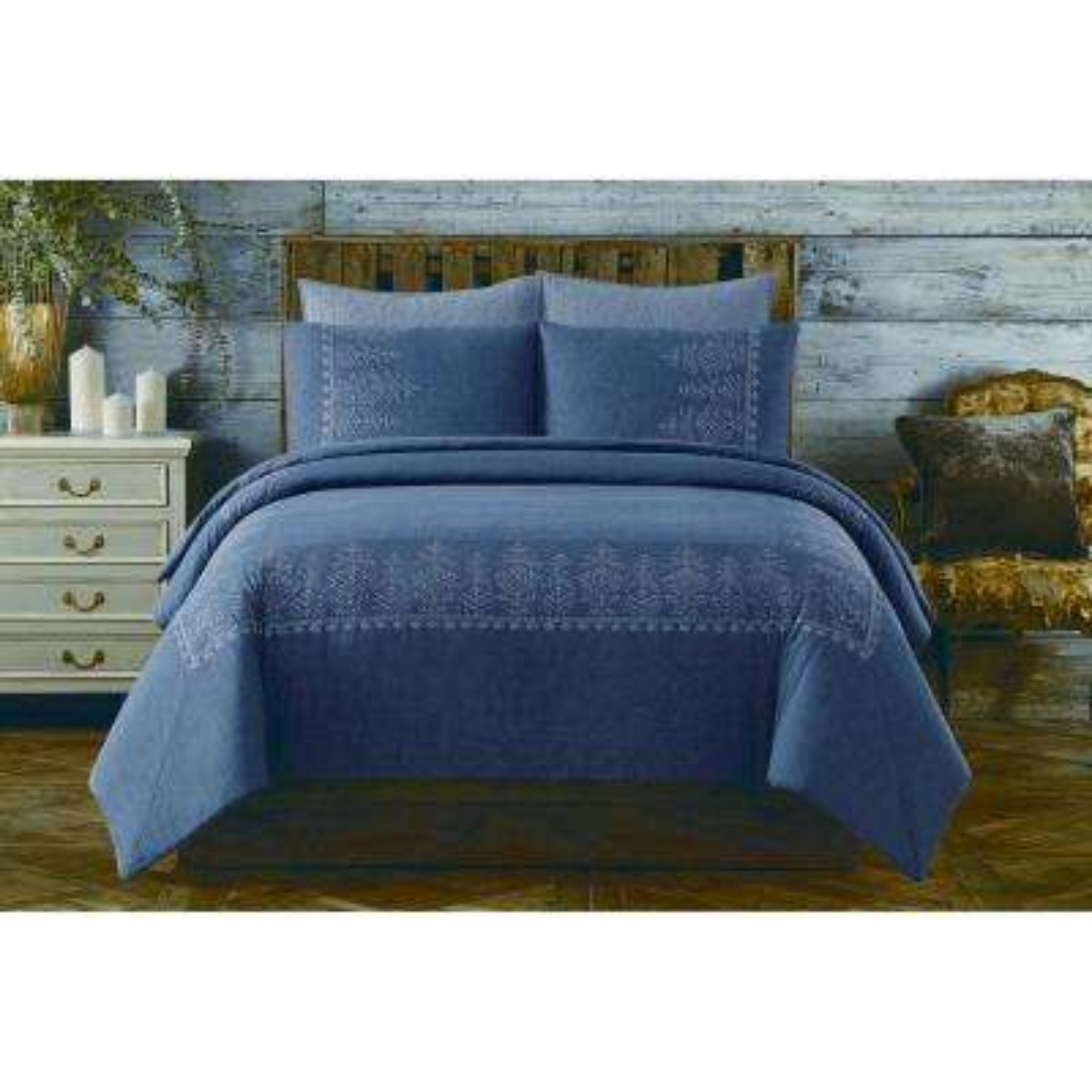 Chambray Cotton Blue Twin XL Comforter Set