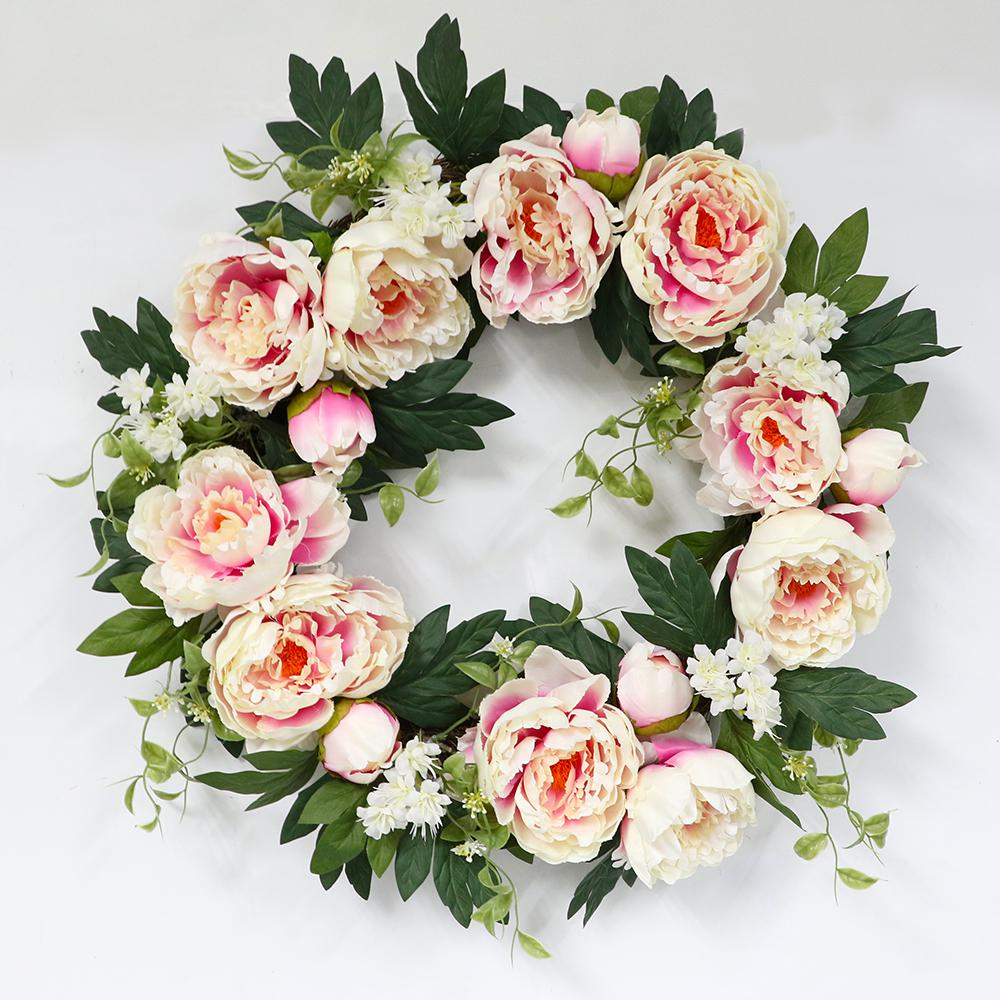 Nearly natural blooming roses with vase in light pink 1328 lp the 22 in wreath with pink peonys izmirmasajfo