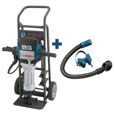 Brute Turbo 15 Amp 1-1/8 in Electric Hex Breaker Hammer Kit with Deluxe Cart and 4 Chisels and Bonus Dust Attachment