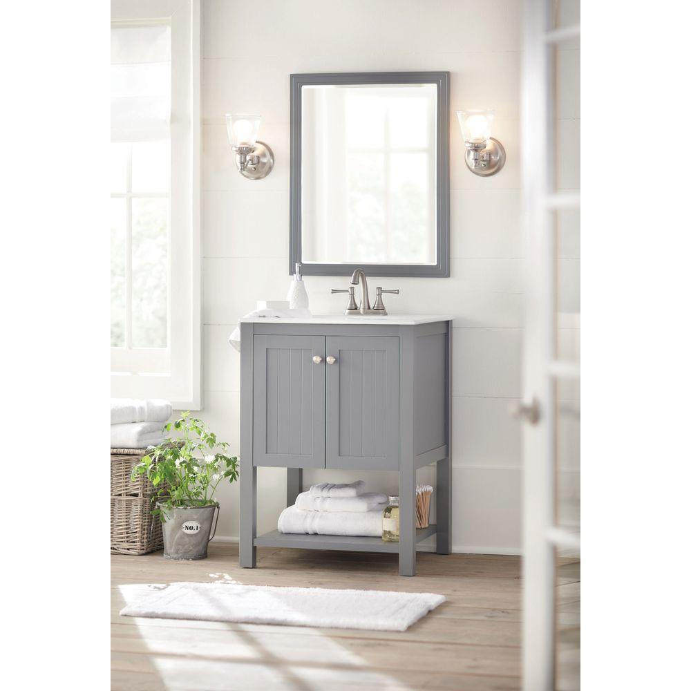 Home Decorators Collection Cranbury 30 In L X 24 W Framed Single Wall Mirror Cool Gray