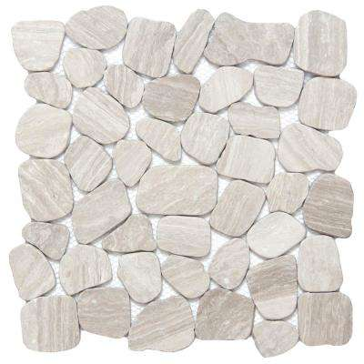 Cultura Cream Honed and Tumbled 11.81 in. x 11.81 in. x 8 mm Pebbles Mesh-Mounted Mosaic Tile