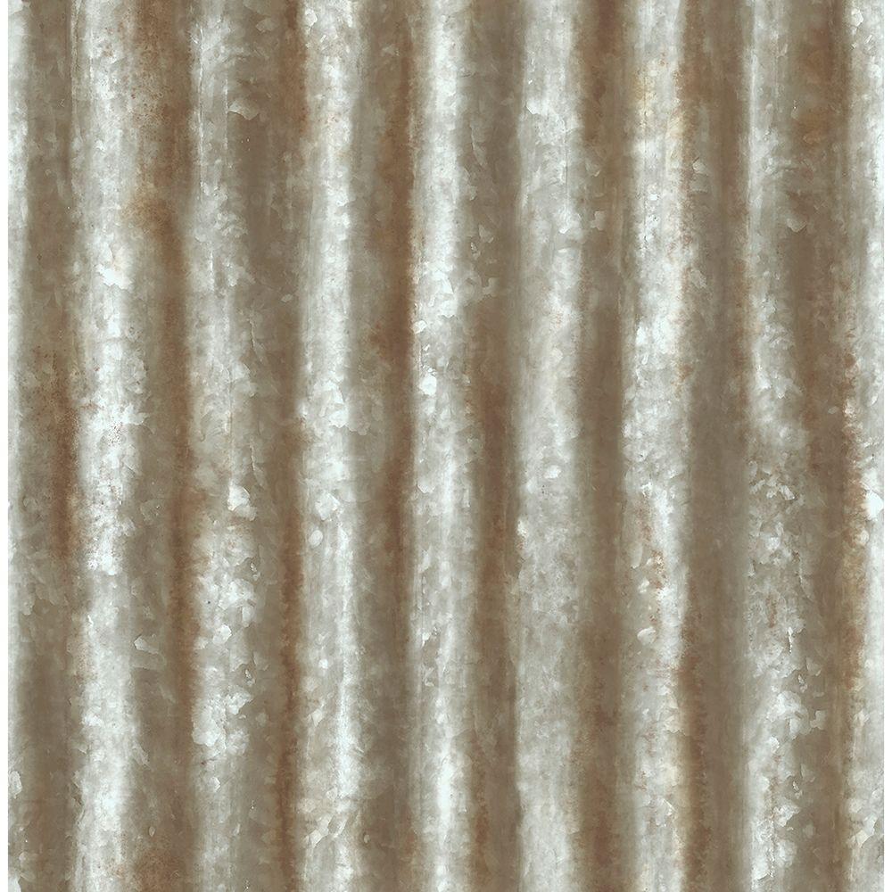 Grey Corrugated Metal Texture Wallpaper