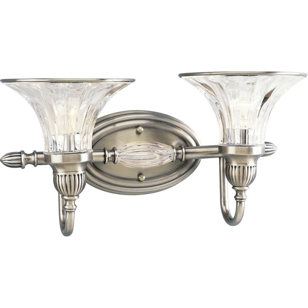 Progress Lighting Roxbury Collection 2-Light Classic Silver Vanity Light with Clear Crystal Glass Shades