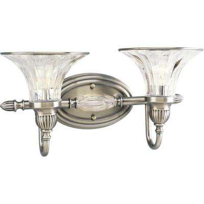 Roxbury Collection 2-Light Classic Silver Bathroom Vanity Light with Glass Shades