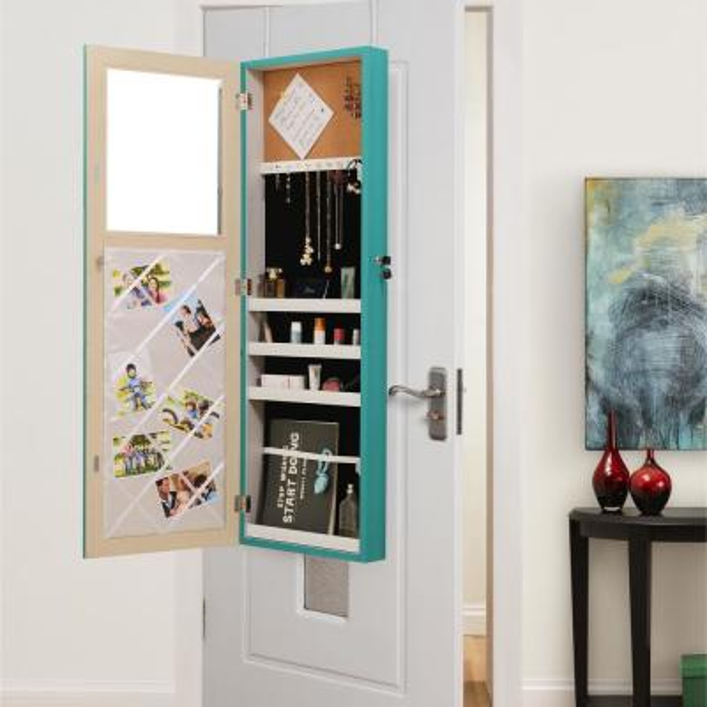 Galatea Door/Wall Mount Jewelry Armoire Organizer Mirror Turquoise
