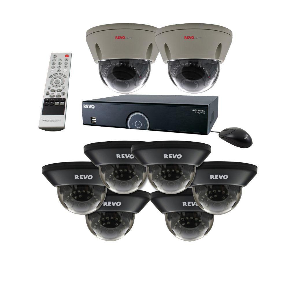 Revo Elite Titanium Series 16-Channel Surveillance System with 4TB DVR 6 Quick Connect Dome Cameras and 2 Elite Dome Cameras