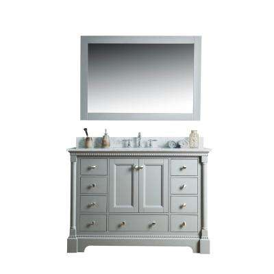 Olivia 48 in. W x 22 in. D Vanity in Gray with Marble Vanity Top in White with White Basin