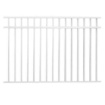 Natural Reflections Standard-Duty 4-1/2 ft. H x 6 ft. W White Aluminum Pre-Assembled Fence Panel