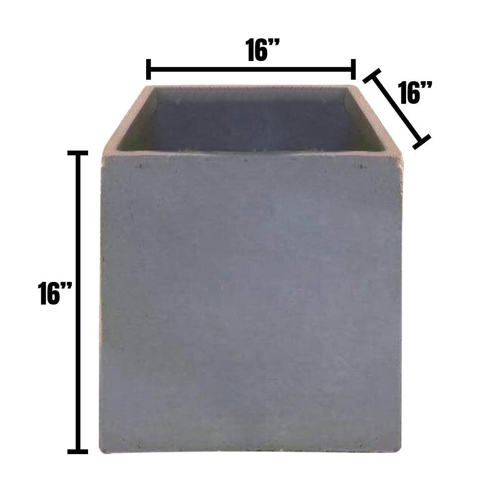 DurX-litecrete Large 15.7 in. x 15.7 in. x 15.7 in. Cement Lightweight Concrete Modern Square Planter