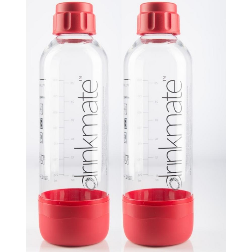 DrinkMate 1 l Carbonating Bottles in Red (2-Pack) DrinkMate 1L bottles let you easily make and save multiple servings of any carbonated beverage. Twin pack of 2-bottles and caps included. These long life bottles will last up to 3-years, depending on amount of use. Color: Red.
