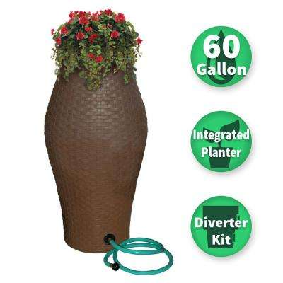 60 Gal. Basket Weave Rain Barrel with Integrated Planter and Diverter Kit