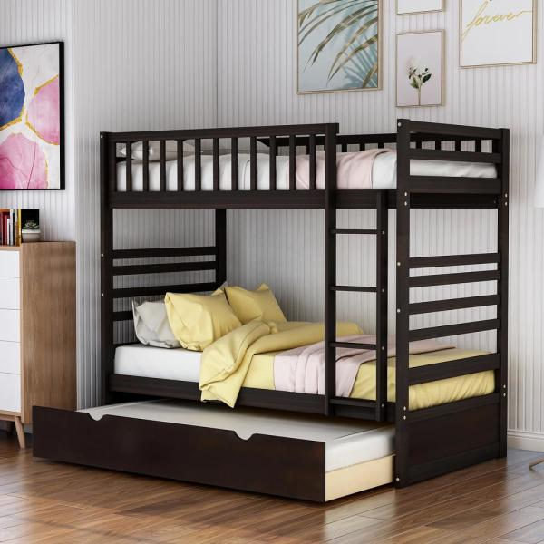 Harper Bright Designs Espresso Twin Over Twin Solid Wood Bunk