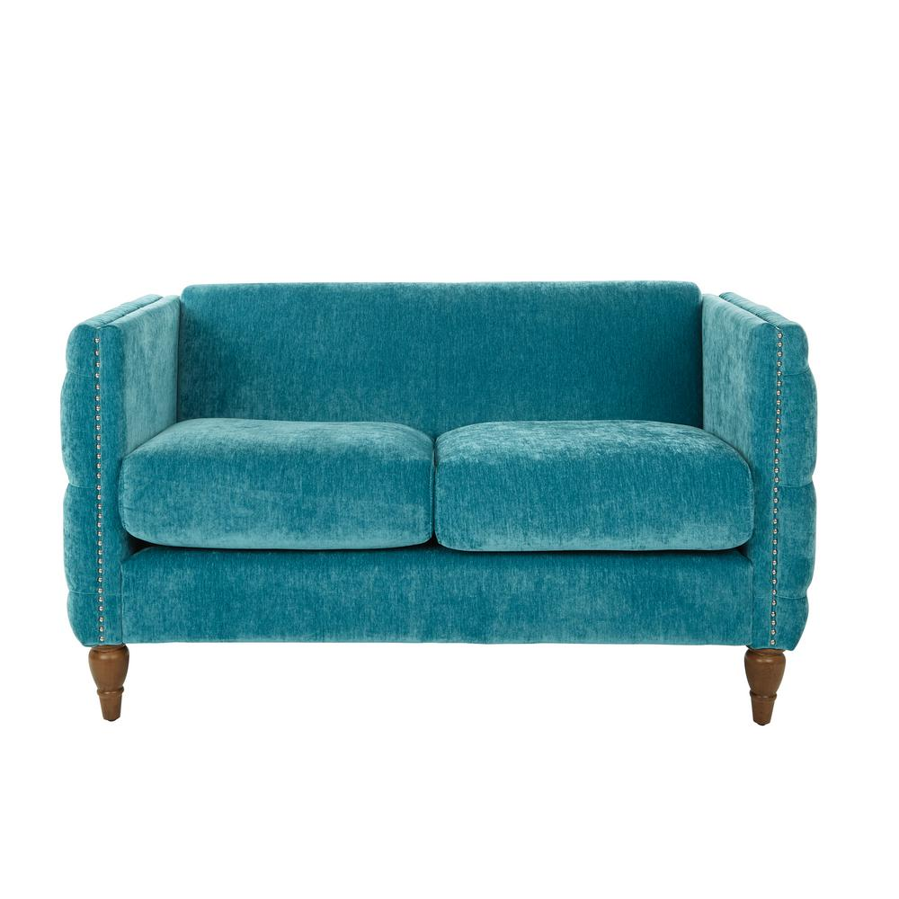 OSP Home Furnishings Evie Tufted Loveseat in Aqua with Coffee Legs, Aqua Polyester Relax in the tranquility of your living room with the plush Evie Loveseat. This chic design is detailed with button tufted sides and a stylish nailhead trim. Upholstered in a beautiful fabric with solid wood legs, you wont find a more luxurious loveseat. No tools required for assembly. Color: Aqua Polyester.