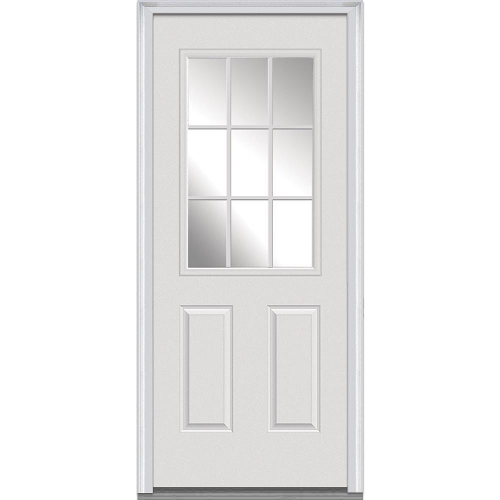 MMI Door 32 in. x 80 in. Left-Hand Inswing 9-Lite Clear 2-Panel Primed Fiberglass Smooth Prehung Front Door on 6-9/16 in. Frame
