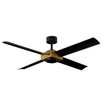 Paradox 56 in. LED Indoor and Outdoor Aged Brass 4-Blade Smart Ceiling Fan with 3500K Light Kit