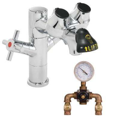 Eyesaver Laboratory Eye Wash with Faucet and Thermostatic Mixing Valve in Polished Chrome