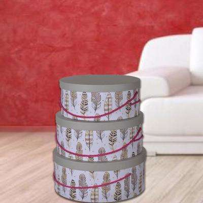Multi Cardboard Paper Round Hat Boxes with Feather Motifs (Set of 3)