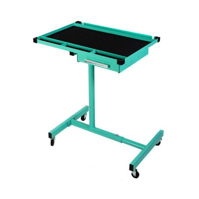 200 lbs. Capacity Light Blue Adjustable Work Table with Drawer Rolling Tool Tray with Wheels