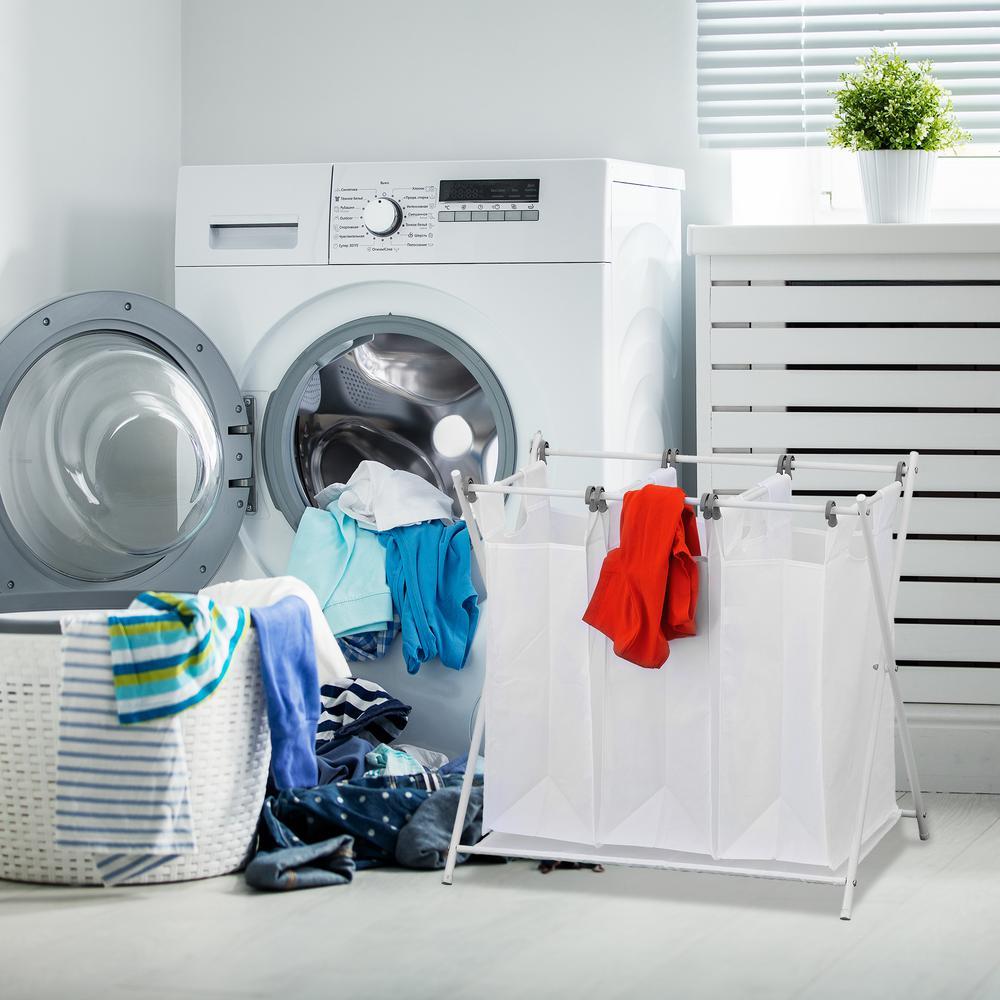 Wayar White Chrome Triple Foldable Laundry Sorter