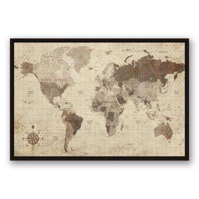 24 in. x 36 in. ''Distressed World Map'' Printed Framed Canvas Wall Art