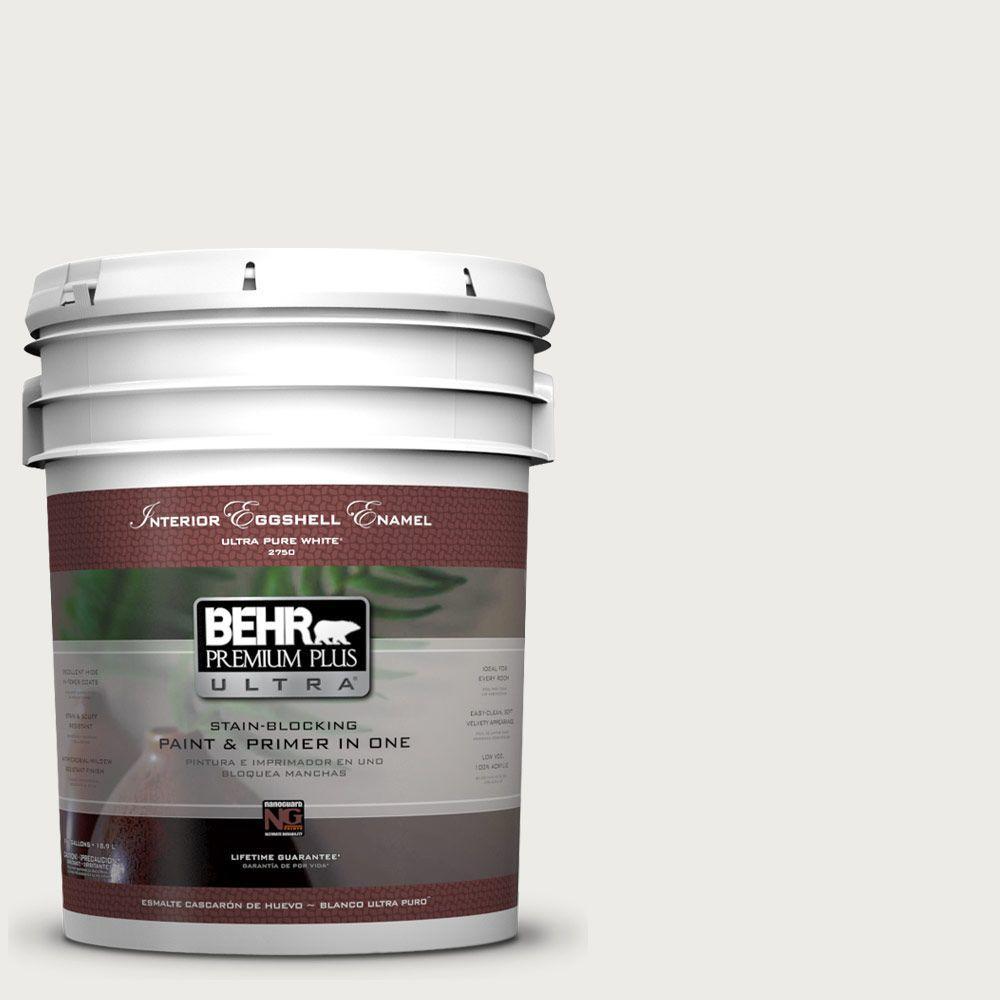 BEHR Premium Plus Ultra 5-gal. #PPU12-12 Gallery White Eggshell Enamel Interior Paint