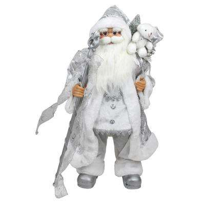 24 in. Winter Frost Standing White and Silver Santa Claus with Staff and Gift Bag Christmas Figure