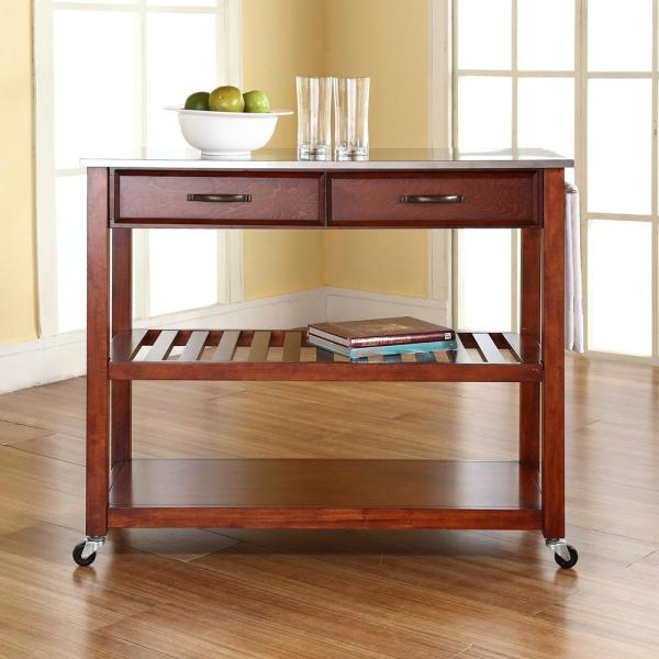 Crosley Cherry Kitchen Cart With Stainless Steel Top KF30052CH