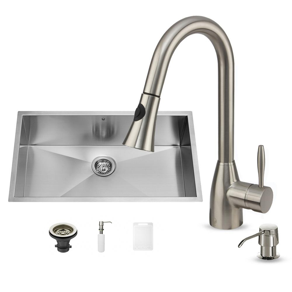 VIGO All In One Undermount Stainless Steel 32 In. Single Bowl Kitchen Sink  In Stainless Steel With Faucet Set VG15042   The Home Depot