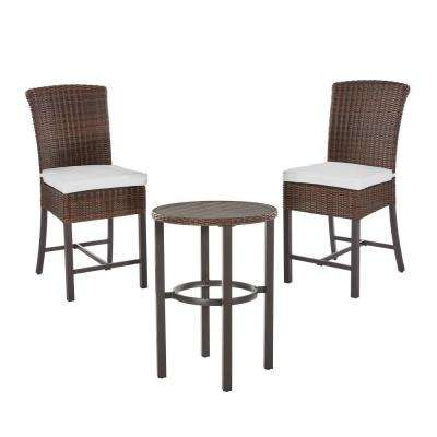 Harper Creek 3-Piece Brown Steel Outdoor Patio Bar Height Dining Set with Bare Cushions