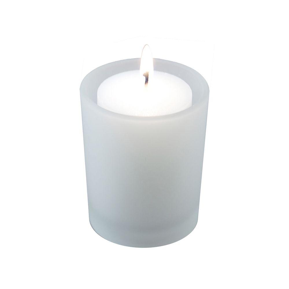 36-Count 15-Hour Votive Candles with 12 Frosted Glass Holders, White