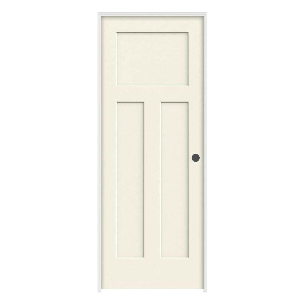 JELD WEN 24 In. X 80 In. Craftsman Vanilla Painted Left Hand