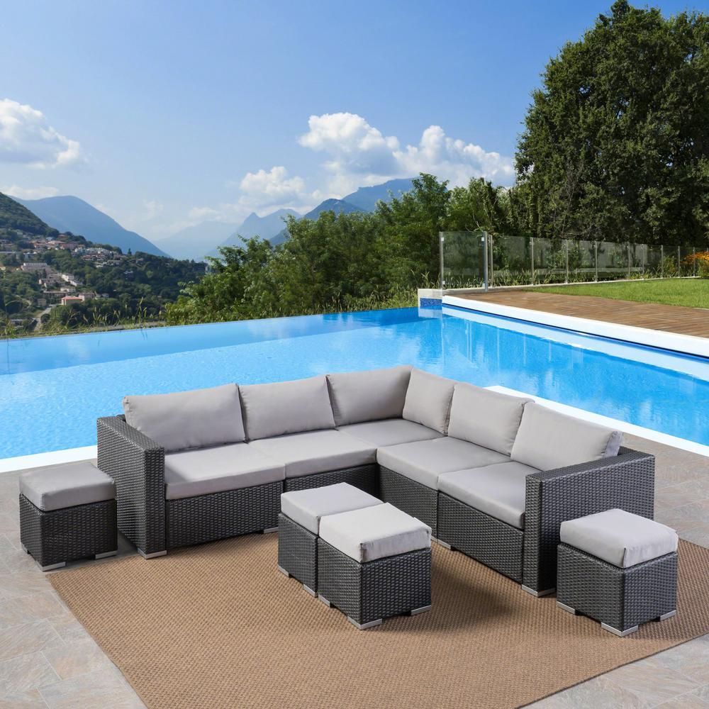 Peachy Noble House Santa Rosa Grey 8 Piece Wicker Outdoor Sectional Set With Silver Cushions Alphanode Cool Chair Designs And Ideas Alphanodeonline