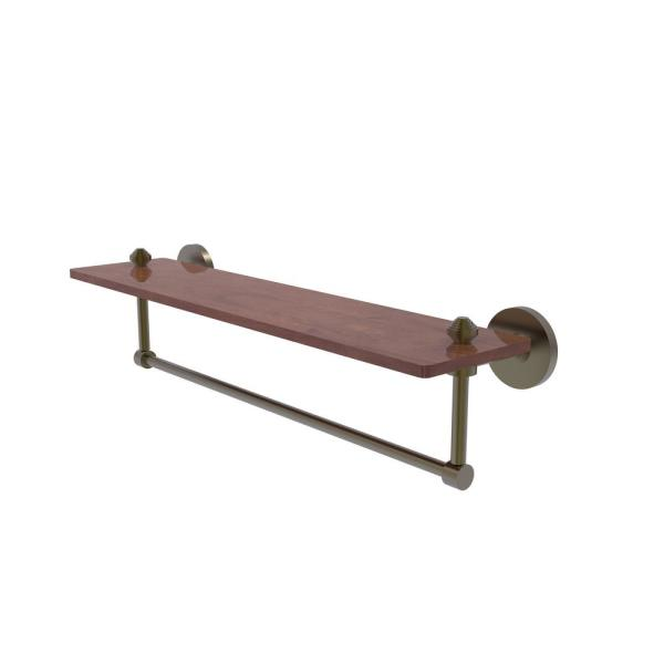 Allied Brass South Beach Collection 22 In Solid Ipe Ironwood Shelf With Integrated Towel Bar In Antique Brass Sb 1tb 22 Irw Abr The Home Depot