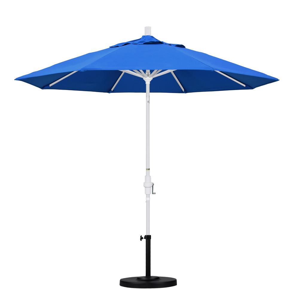 9 ft. Aluminum Collar Tilt Patio Umbrella in Pacific Blue Olefin