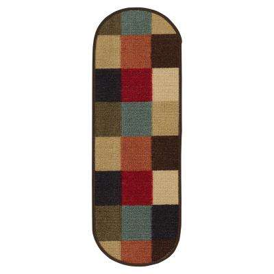Ottohome Collection Checkered Design Multi-Colored 9 in. x 26 in. Rubber Back Oval Stair Treads (Set of 7)