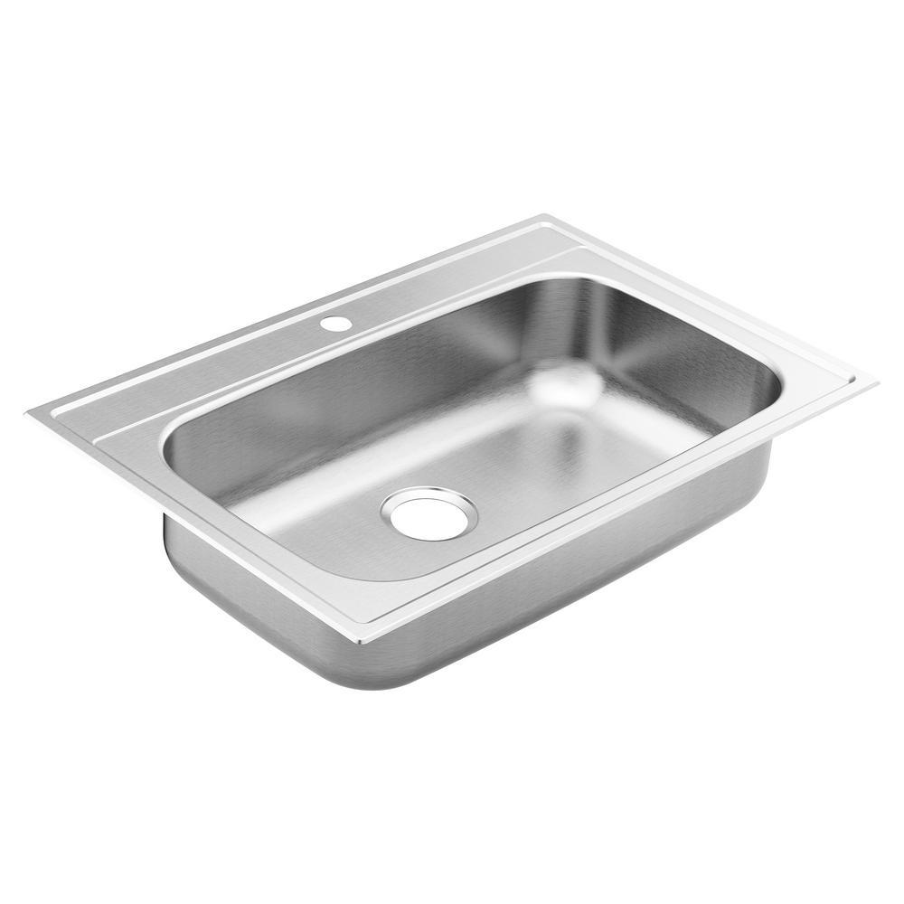 1800 Drop-In Stainless Steel 33 in. 1-Hole Single Bowl Kitchen Sink