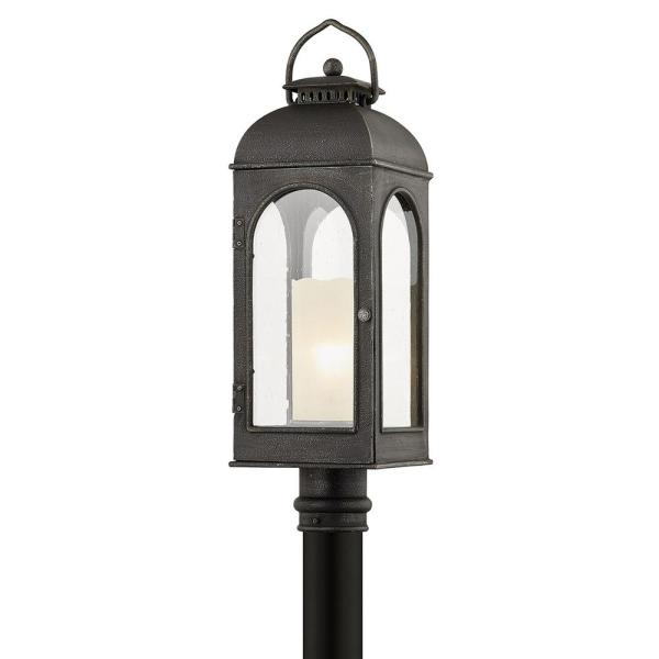 Troy Lighting Derrby Hardwired Aged Pewter 4x4 Led In Ground Deck Post 1 Light With Clear Seeded Glass Shade P7755 The Home Depot