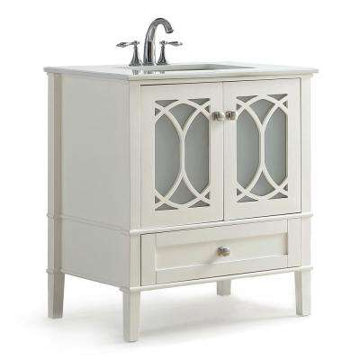 Denning 30 in. Contemporary Bath Vanity in Pure White with Engineered Quartz Marble Extra Thick Top with White Basin