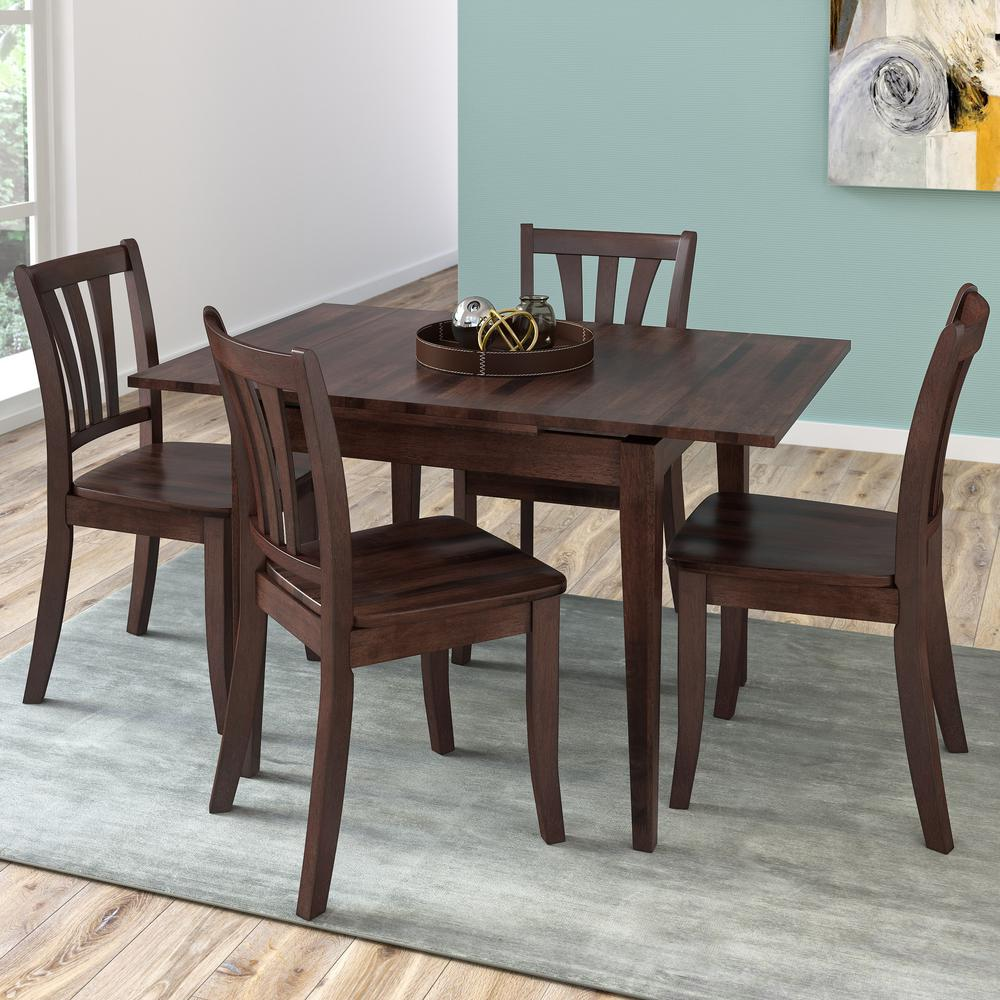 Dillon 5-Piece Extendable Cappuccino Stained Solid Wood Dining Set