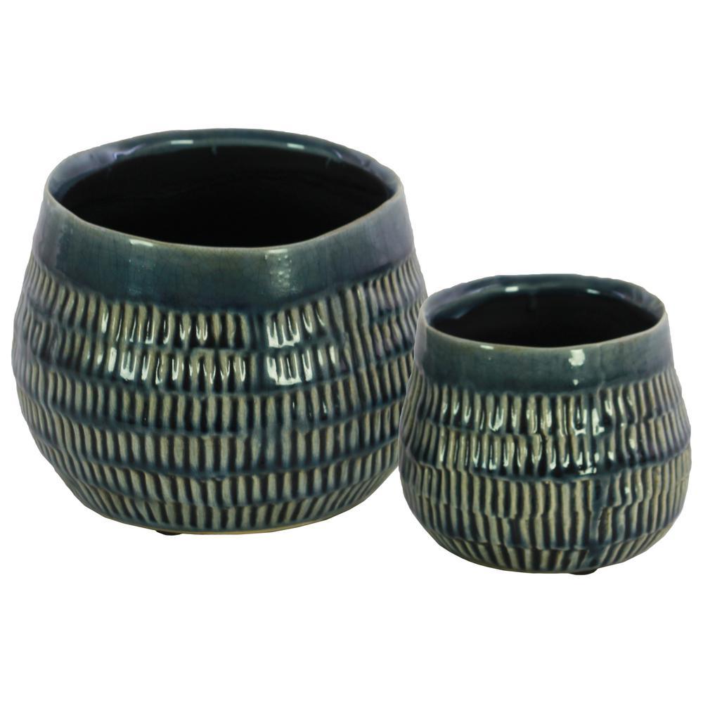 Blue Gloss Ceramic Decorative Vase