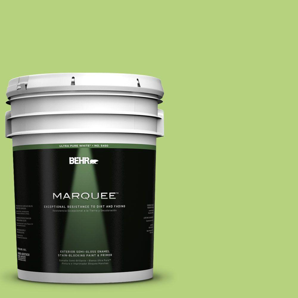 BEHR MARQUEE 5-gal. #420B-4 Tart Apple Semi-Gloss Enamel Exterior Paint, Greens