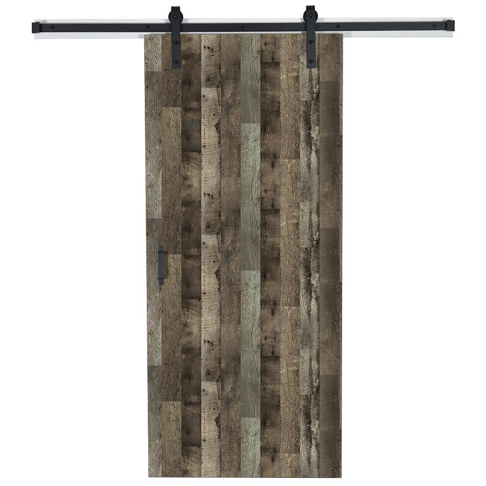 37 in. x 84 in. x 1.375 Reclaimed Oak Y0302-12 Wood Solid Core Laminate Flush Barn Door with Hardware Kit
